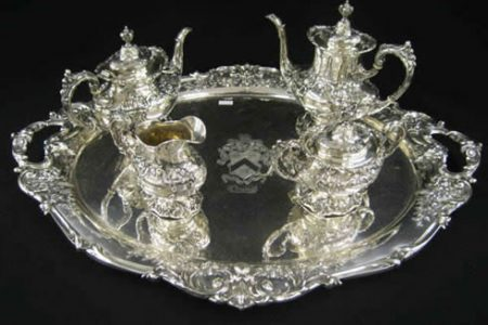 REED & BARTON STERLING TEA AND COFFEE SET WITH MATCHING TRAY SOARS TO $11,000 AT RICHARD D. HATCH & ASSOCIATES MULTI-ESTATE SALE HELD FEB. 21-23