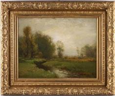 ORGINAL PASTORAL LANDSCAPE OIL PAINTING BY ARTHUR PARTON (N.Y.,  1842-1914) BRINGS $13,800 AT JUNE 14 SALE HELD BY LELAND LITTLE AUCTION & ESTATE SALES