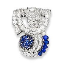 Elton John Sapphire and Diamond Brooch for Auction