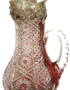 DARK CRANBERRY CUT TO CLEAR TANKARD BY DORFLINGER BRINGS $49,000 AT AMERICAN BRILLIANT CUT GLASS SALE HELD NOV. 15 BY WOODY AUCTION