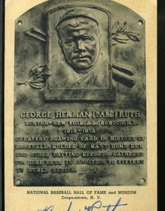 HALL OF FAME PLAQUE POSTCARD, BOLDLY SIGNED BY BABE RUTH, REALIZES $62,150 AT MULTI-ESTATE SALE HELD MARCH 28-29 BY PHILIP WEISS AUCTIONS