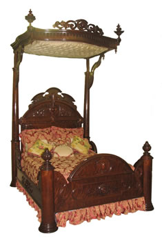 Pierce Carved Laminated Rosewood Bed By John Henry Belter