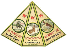EXTREMELY RARE WINCHESTER TRIANGLE MOBILE-STYLE DIE-CUT POSTER SELLS FOR A RECORD $13,080 AT SOLDUSA.COM ONLINE AUCTION THAT ENDED MAR. 21-22