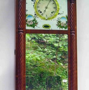 IMPORTANT, LARGE WALL-MOUNTED MIRROR CLOCK MADE BY NEW ENGLAND CLOCKMAKER JOSEPH IVES SOARS TO $9,200 AT CLOCK AND HOROLOGY AUCTION