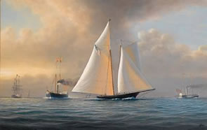 America's Cup Paintings by Timothy Franklin Ross Thompson for Bonhams Marine Auction