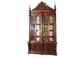 MONUMENTAL SET OF FOUR AMERICAN GOTHIC BOOKCASES, CRAFTED IN PHILADELPHIA IN 1854, SOARS TO $115,000 AT HAL HUNT AUCTION, MAR. 13