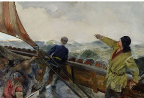 Painting by Christian Krohg of Leif Eriksson Discovering America for Sotheby's Auction