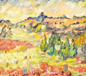 Bouzianis Painting for Bonhams Greek Sale