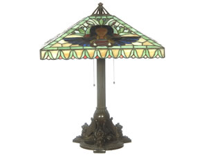 MARKED 25-INCH HANDEL LEADED & REVERSE PAINTED LAMP IN EGYPTIAN DESIGN ILLUMINATES THE ROOM FOR $16,000 AT WOODY AUCTION, APRIL 9-10