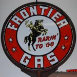"""FRONTIER GAS """"RARIN' TO GO"""" DOUBLE-SIDED PORCELAIN SIGN, ONE OF ONLY TWO KNOWN, HITS $26,400 AT SALE HELD MAY 15-16 BY MATTHEWS AUCTIONS"""