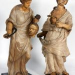 PAIR OF CARVED ALABASTER MARBLE SCULPTURES OF CLEOPATRA AND JUDITH BRINGS $132,250 AT AUCTION HELD NOV. 13 BY FONTAINE'S AUCTION