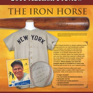 RARE LOU GEHRIG BAT, GAME JERSEY, SIGNED BASEBALL TO HIT AUCTION BLOCK AT REA