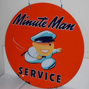 """UNION """"MINUTE MAN SERVICE"""" DOUBLE-SIDED PORCELAIN SIGN REALIZES $12,938 – A RECORD FOR THE SIGN AT AUCTION – AT MATTHEWS AUCTIONS"""
