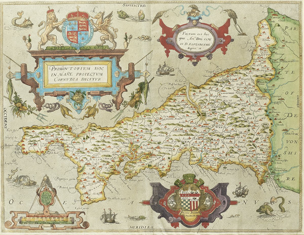 among the highlights was the first printed map of cornwall from the first county atlas of england and wales produced in 1576 during the reign of elizabeth