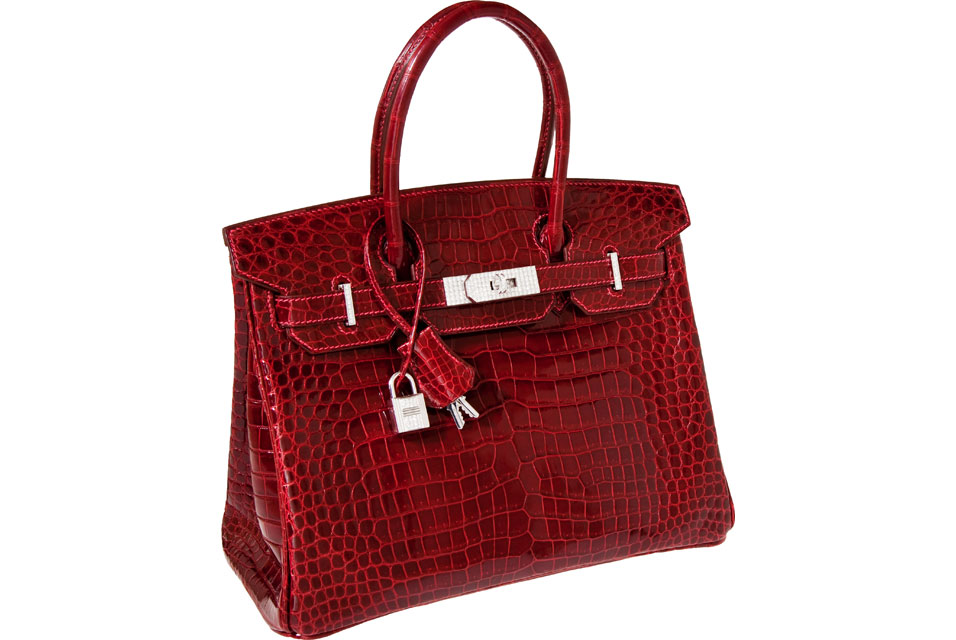 07f1c4980ad9 Hermes Exceptional Collection Shiny Rouge H Porosus Crocodile 30cm Birkin  Bag with Solid 18K White Gold   Diamond Hardware.