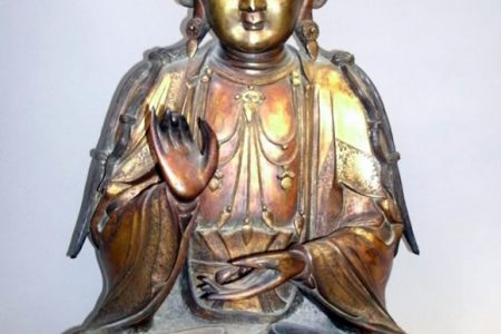 HANDSOME CHINESE GILT-BRONZE BUDDHA FROM THE LATE 19th OR EARLY 20th CENTURY GAVELS FOR $143,000 AT ALDERFER AUCTION & APPRAISAL, NOV. 17th