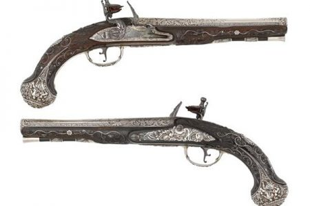 Bonhams to auction 18th century pistols with solid silver barrels and locks