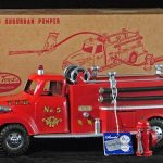 """1950s-ERA TONKA """"SUBURBAN PUMPER"""" FIRE TRUCK, NEAR-MINT IN THE BOX, REALIZES $1,932 IN SERIOUSTOYZ.COM INTERNET AND CATALOG AUCTION #54"""
