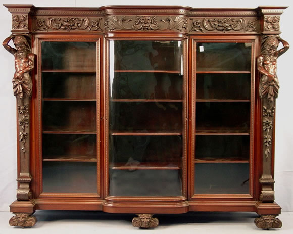 Spectacular All Original Mahogany 3 Door Bookcase Made