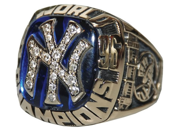 1996 NEW YORK YANKEES WORLD SERIES RING HITS IT OUT OF THE PARK FOR $15,600 AT TIM'S, INC. CABIN FEVER AUCTION HELD MARCH 25 IN BRISTOL, CT