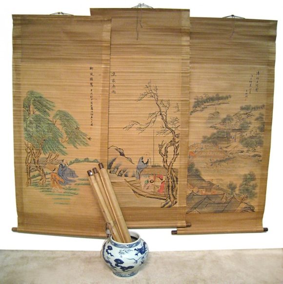 Antique Chinese Scrolls: ICART PRINTS, CHINESE SCROLLS, ANTIQUE CLOCKS AND POCKET