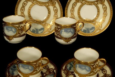 RARE AND FINE SET OF FOUR MINTON CUPS AND SAUCERS BRINGS $3,500 AT WOODY AUCTION SALE HELD JULY 7 IN WICHITA, KAN 430 LOTS WERE SOLD