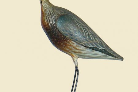 EXTREMELY RARE MINIATURE GREAT BLUE HERON BY ELMER CROWELL SELLS FOR A RECORD $31,050 AT DECOYS UNLIMITED, INC., AUCTION HELD JULY 15-16