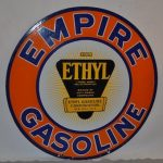 EMPIRE GASOLINE DOUBLE-SIDED PORCELAIN SIGN WITH GREAT COLOR AND GLOSS TOPS OFF AT $10,450 AT MATTHEWS AUCTIONS SALE HELD AUGUST 3rd