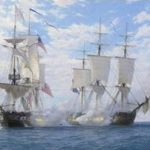 Painting of battle between British and American warships for auction at Bonhams