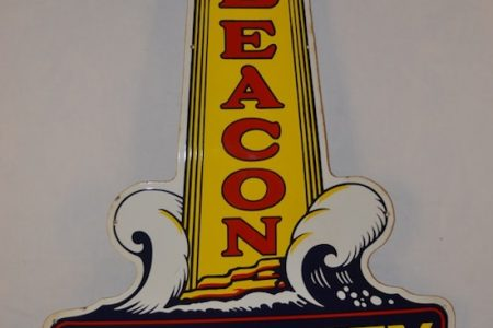 BEACON SECURITY GASOLINE SINGLE-SIDED PORCELAIN DIE-CUT SIGN, RATED 9.5 OUT OF 10 FOR CONDITION, SOARS TO $55,000 AT MATTHEWS AUCTIONS, LLC
