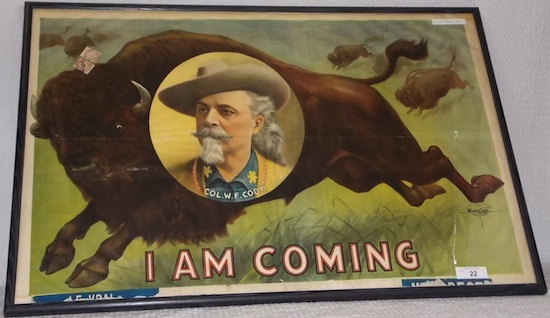 1907 Courier lithograph of Buffalo Bill as a bust portrait inset, on a running buffalo ($18,975).