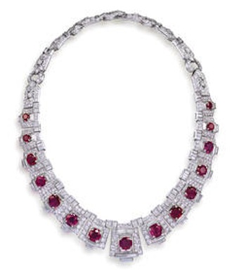 Cartier Art Deco Ruby and Diamond Necklace