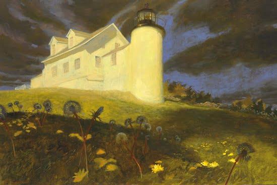 Jamie Wyeth, Lighthouse Dandelions, oil on panel, 30 x 48 in. Est: $250,000-350,000© Jamie Wyeth.