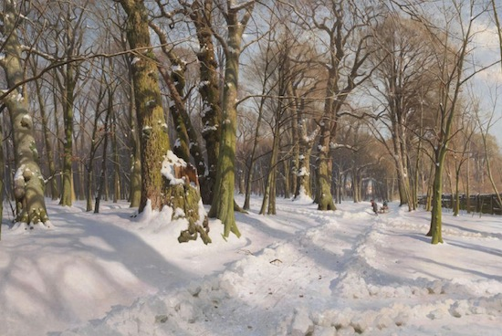 Peder Mørk Mønsted, Niveous Winter Forest in Sunlight. Oil on canvas. 1908, 120 x 200 cm (47.2 x 78.7 in). Estimate € 60.000-80.000.