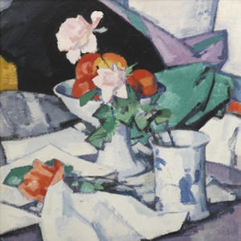 Samuel Peploe Still Life, Roses and Chinese Blue  signed 'Peploe' (lower left) oil on canvas 54.5 x 50 cm. (21 5/8 x 19 3/4 in.)