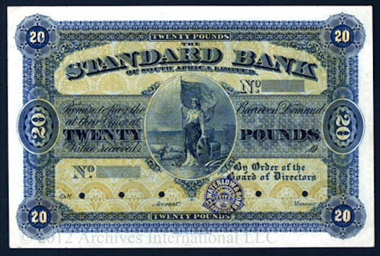 Standard Bank of South Africa, Ltd., unlisted circa 1900s issue Waterlow color trial banknote ($10,620).
