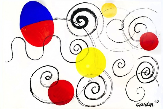 Gouache on paper by Alexander Calder (1898-1976), titled Red and Blue Egg ($114,000).