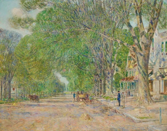 The top lot of the sale was Childe Hassam's 1920 oil, The East Hampton Elms in May ($288,000).