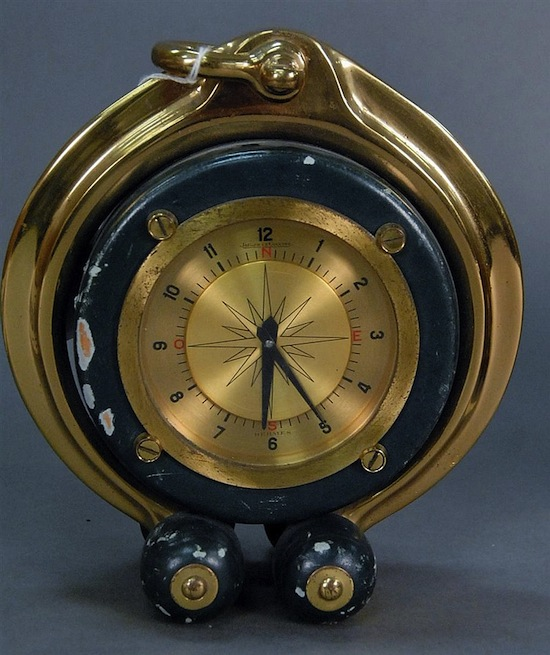 Jaeger-LeCoultre ship's style Hermes clock, not working, with chips on outside ($1,452).