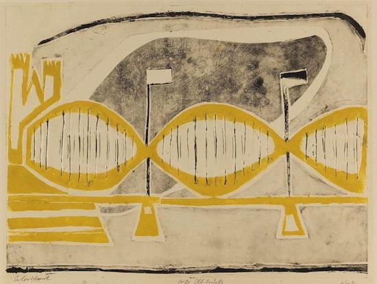 R. Nesch - Große Elbbrücke II, 1932. Metal print in colors, 17.7 x 23.4 in. Starting price: Result: EUR 165.000