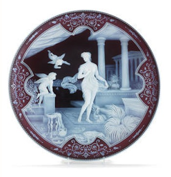 Cameo glass plaque by Thomas and George Woodall