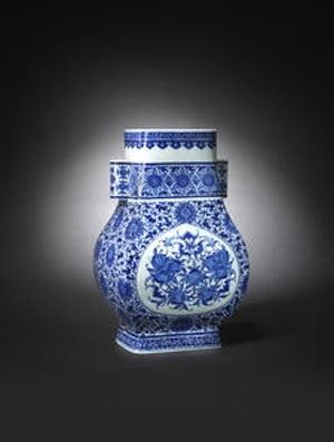 Blue and white 'longevity' vase, fanghu