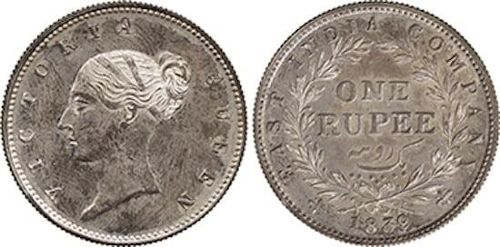 1839 Silver Rupee