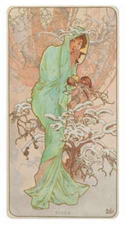 Alphonse Mucha Four Seasons, 1896 four lithographs printed in colors by F. Champenois, Paris