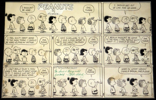 The top lot of the sale was this original Charles Schulz Peanuts Sunday comic strip from 1964 ($41,400).