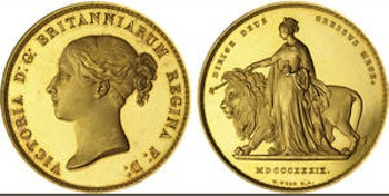Great Britain, Victoria, Una and the Lion Gold Five Pounds, 1839