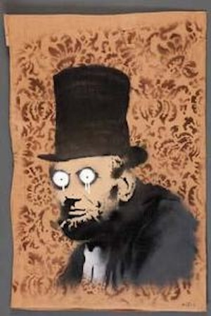 "Banksy's ""Abe Lincoln"" is being offered at Neal Auction Company on July 13, 2013 as lot 353 with an auction estimate of $30,000 to $50,000."