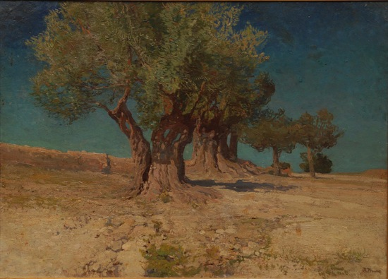 Oil on canvas mounted to a Masonite board by Ivan Trusz (Ukran./Russ., 1869-1941) of a landscape scene with olive trees on a plateau (est. $8,000-$12,000).