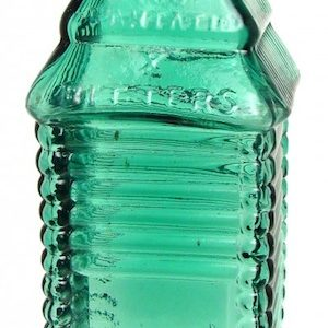 ST. DRAKE'S PLANTATION X BITTERS BOTTLE (CA. 1862-1872), IN THE RARE BLUE-GREEN COLOR, GAVELS FOR $37,950 AT AMERICAN BOTTLE AUCTIONS' SALE #58