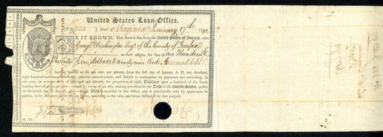 1792 banknote: This important 1792 U.S. Federal bond, issued and signed by George Washington, will be sold.